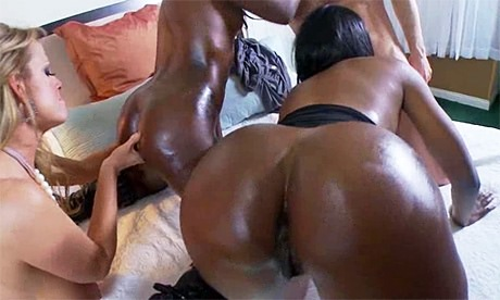 Huge Booty black Goddess Nyomi Banxxx shares her white boy with  from wonderful katie morgan