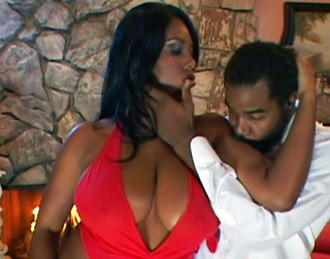 Busty black chick enjoys hard cock