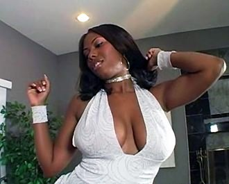 Busty ebony chick enjoys big cock