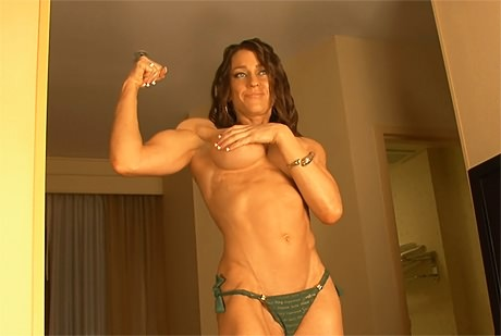 Busty sexy fitness model bikini posing and flexing from wonderful katie morgan