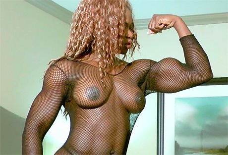 Black sexy muscular Goddess bodystockings and big biceps from wonderful katie morgan