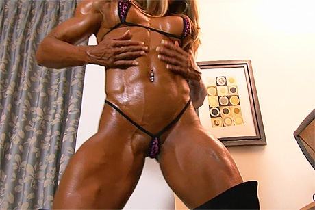 Very hot muscle woman with perfect athletic body in micro bikini from wonderful katie morgan