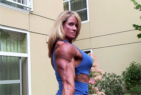 Tall muscular blonde Amazon posing and flexing from wonderful katie morgan