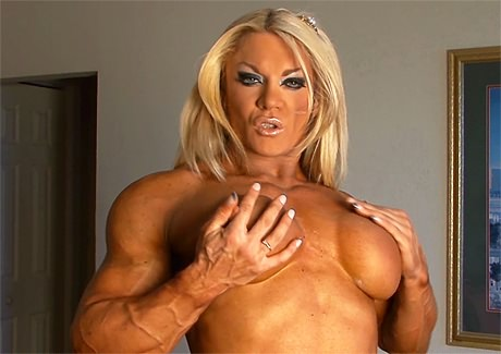 British Female Bodybuilder topless posing from wonderful katie morgan
