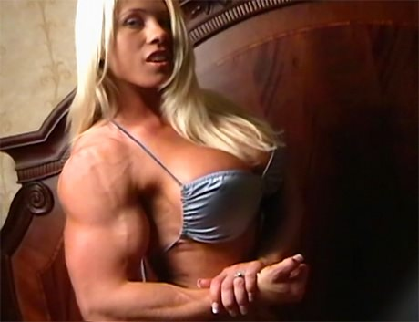 Huge muscular blonde Goddess flexing her strong biceps from wonderful katie morgan