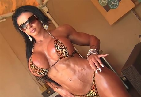 Fitness brunette babe with huge boobs posing sexy in Bikini from wonderful katie morgan